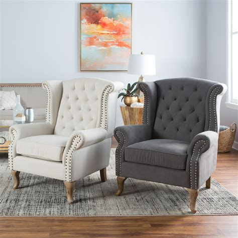 belham living tatum tufted arm chair  nailheads accent chairs  hayneedle