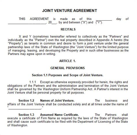 10 Joint Venture Templates Sle Templates Sba Joint Venture Agreement Template