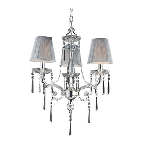 Mini Shade Chandelier Mini Chandelier With Beige Shades In Polished Silver Finish 2395 3 Destination Lighting