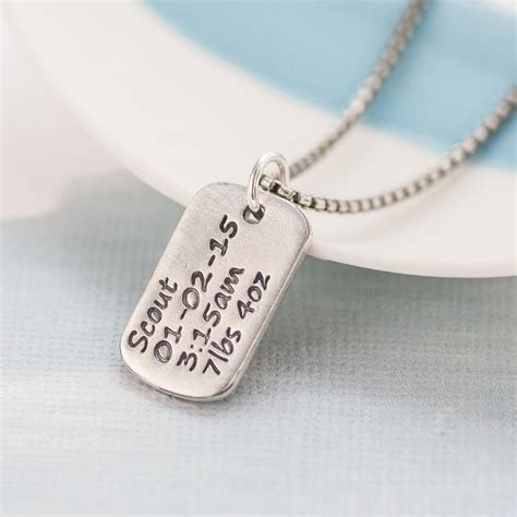 personalized tag necklace personalized tag necklace with baby birth info by green river studio