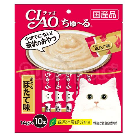 Cat Treats Ciao Chu Ru White Tuna Scallop 14g X 4 Pcs Sc 77 ciao cat 14g x 10pcs sc125 chu ru white tuna