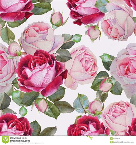 watercolor roses pattern floral seamless pattern with watercolor pink and purple