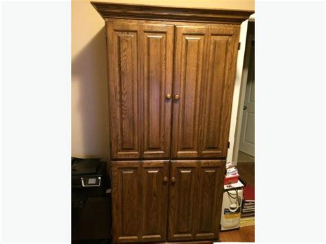 Solid Oak Computer Armoire Solid Oak Computer Hutch Armoire With Bi Fold Doors Stittsville Ottawa