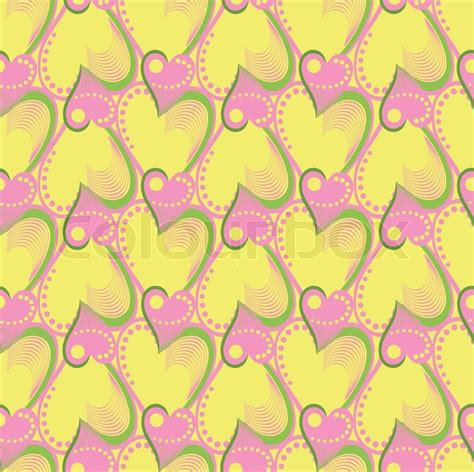 yellow heart pattern vector seamless pattern with pink and yellow hearts