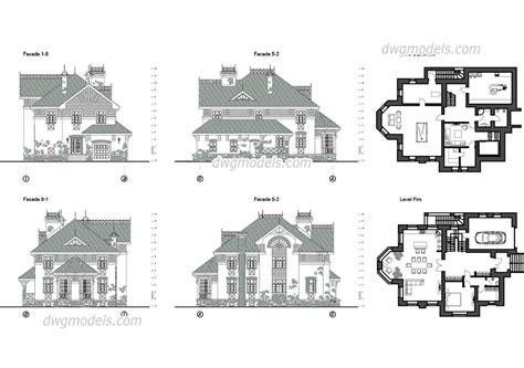 villa layout dwg villa 7 autocad blocks plans facades furniture free