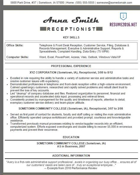 Receptionist Resume Exles by Receptionist Resume Exles 2016