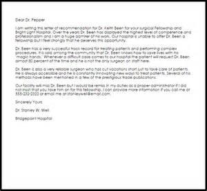 fellowship cover letter sle fellowship recommendation letter recommendation letters