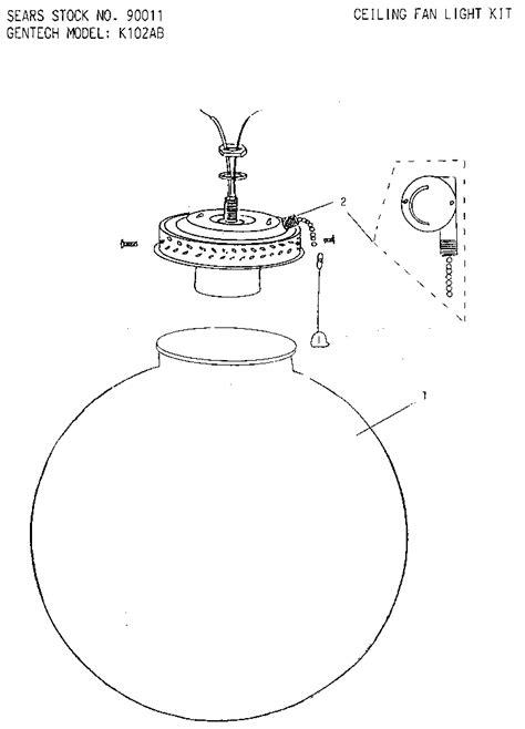 Ceiling Light Replacement Parts Gentech Ceiling Fan Light Kit Parts Model K102ab Sears Partsdirect