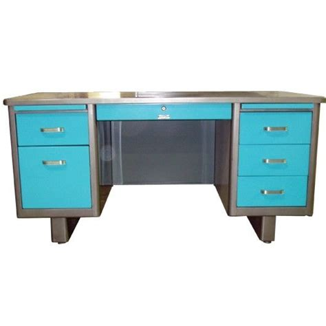 Retro Office Desk Holga 60 Quot Airliner Tanker Desk With A Brushed Steel Frame And Light Blue Drawer Step Into My