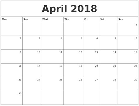 Monthly Calendar 2018 April 2018 Monthly Calendar