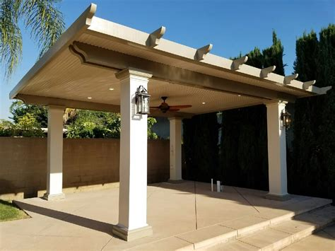 Freestanding Solid Patio Cover 12 Quot Square Columns Double Patio Cover Lights