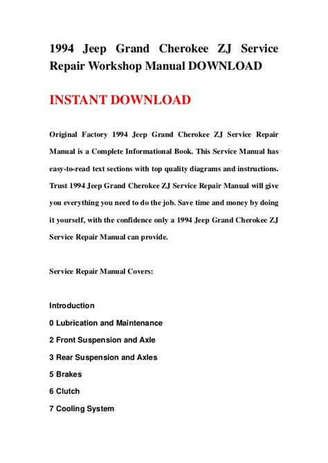 service and repair manuals 1994 jeep grand cherokee electronic valve timing 1994 jeep grand cherokee zj service repair workshop manual download