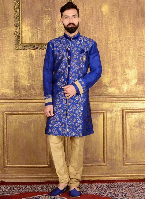 buy royal blue art silk indowestern sherwani jacquard