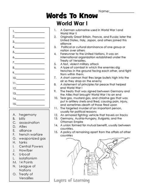World War 1 Vocabulary Worksheet