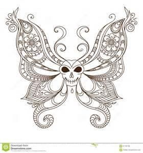 art skull butterfly tattoo henna mehendi stock vector