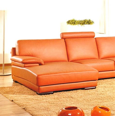 Orange Sectional Sofa 2227 Contemporary Orange Leather Sectional Sofa