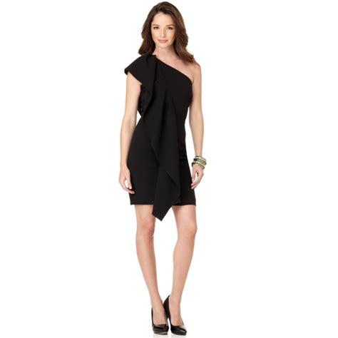 Ck Calvin Klein Sleevlees Dress calvin klein sleeveless one shoulder ruffled cocktail