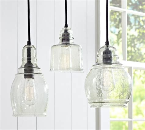 Paxton Glass 3 Light Pendant Paxton Glass Single Pendants Midcentury Pendant Lighting By Pottery Barn