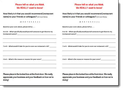 Customer Card Template by Restaurant Comment Card Template Clergy Coalition