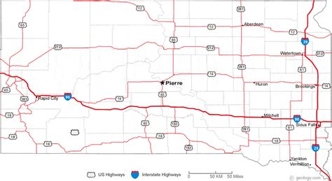 dakota road map with cities map of south dakota