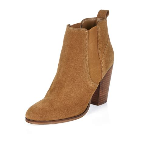 river island brown suede heeled ankle boots in brown lyst