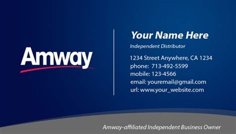 amway name card template amway business card design 1
