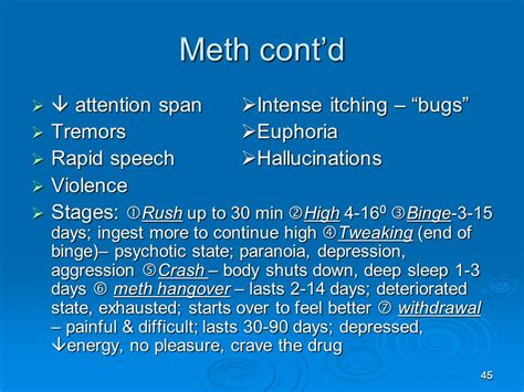 Meth Detox Stages by The Victim Of Drowning Drugs Ppt