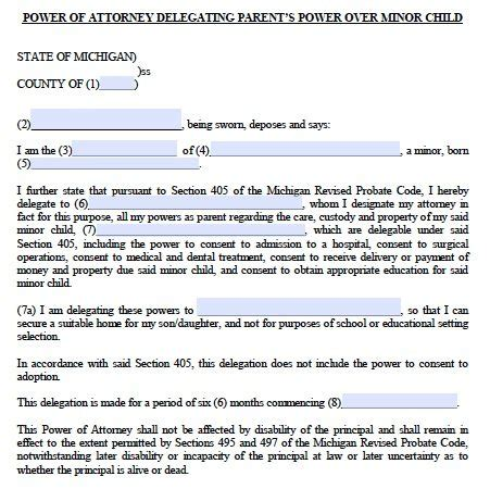 Free Minor Child Guardianship Poa Michigan Form Pdf Power Of Attorney For Child Template