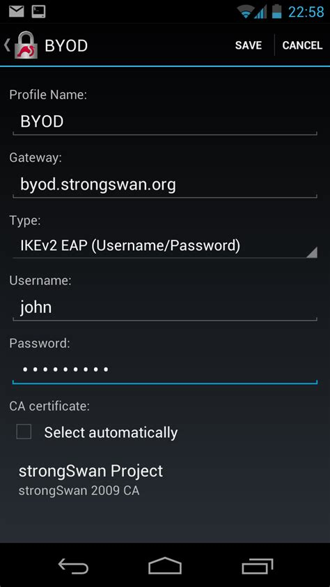 vpn client for android android byod security based on trusted network connect strongswan