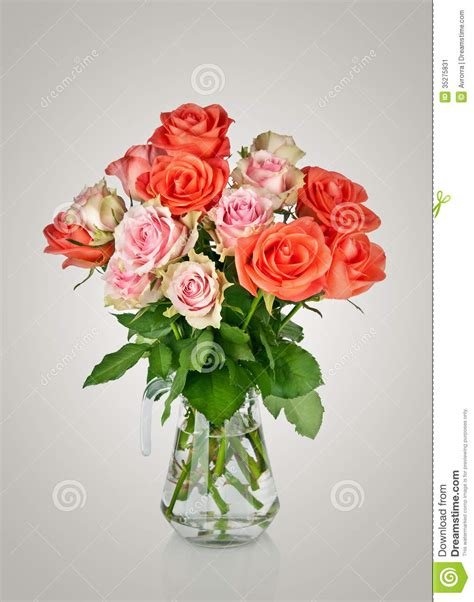 bouquet of pink roses in a vase stock image image 35275831