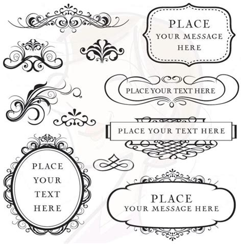 Wedding Fonts Commercial Use by Digital Clipart Frames Flourish Commercial Use Vector