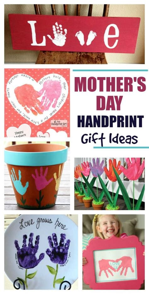 adorable handprint gift ideas  mothers day