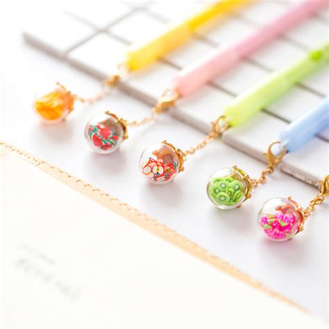 4 Pcs Lovely Cat Gel Pen 0 5mm 5 pcs lot wish bottle pen lighting fruit pendant