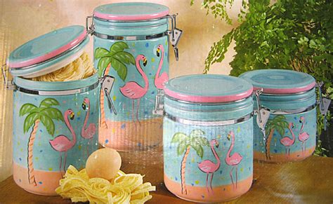 Oh So Flamingo Canister Set   Anne Ormsby: Online Gallery and Gift Shop