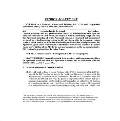 Vendor Partnership Agreement Template 17 Sle Vendor Agreement Templates Pdf Doc Free Premium Templates