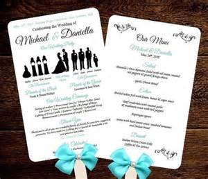 wedding fan templates free diy silhouette wedding fan program w menu printable