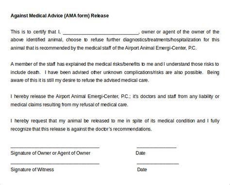 against advice form 9 against advice forms sles exles