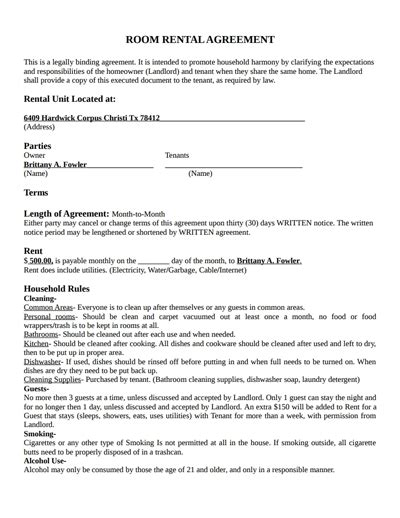 month to month room rental agreement template room rental