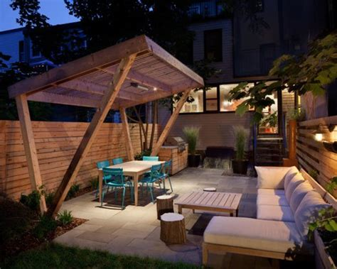 slanted pergola home design ideas pictures remodel  decor