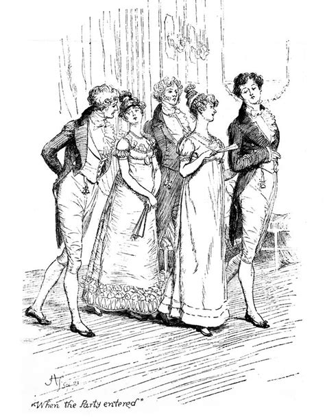 Victorian Era Home Decor scene from pride and prejudice by jane austen drawing by