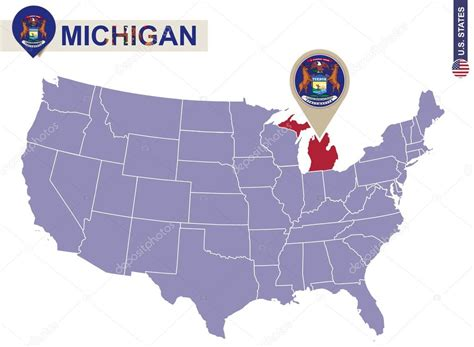 usa map michigan state michigan state on usa map michigan flag and map stock