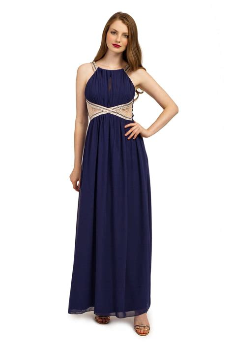 A Pretty Embellished Navy Dress From Warehouse by Navy Embellished Lace Panel Chiffon Maxi Dress