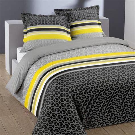 housse de couette grise et jaune housse de couette linge de lit eminza