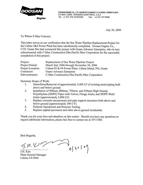 Letter For Work Completion 28 certification letter for contractor