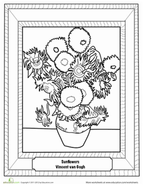van gogh coloring pages pdf coloring pages of van gogh sunflowers freecoloring4u com