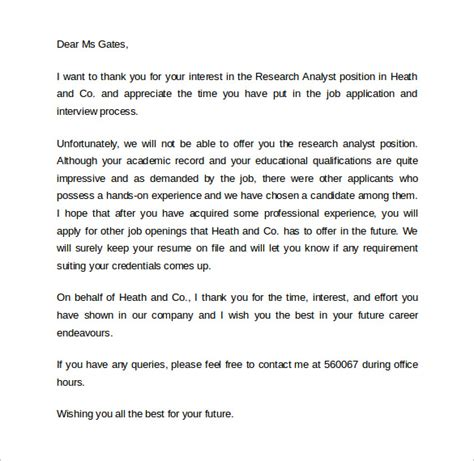 Rejection Letter Not Getting The Sle Rejection Letter After 9 Free Documents In Pdf Word