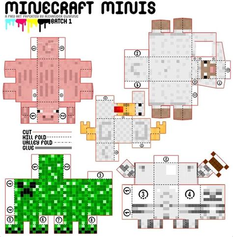 Minecraft Papercraft Animal Mobs - minecraft mini papercraft minecraft
