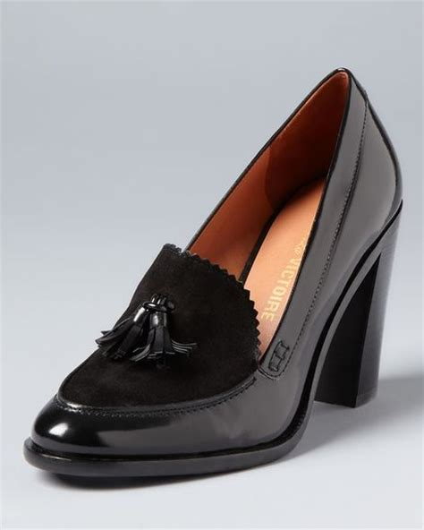 high heel loafers for pour la victoire loafer pumps drew high heel in black lyst