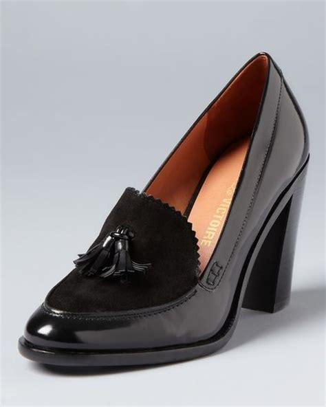high heel loafer pumps pour la victoire loafer pumps drew high heel in black lyst