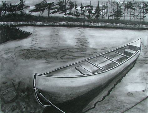 canoe on pond drawing by lee davies - Canoes Drawing